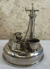 JUGENDSTIL  Figürliche  HUND  Petroleumlampe  signiert  um 1890