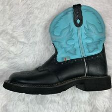 """8"""" Tall Justin Gypsy Gemma Rodeo Cowboy Western Boot Black Turquoise Size 10"""