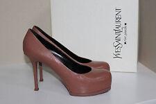 New sz 10 / 40 YSL Yves Saint Laurent Tribtoo Nude Leather Platform Pump Shoes