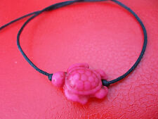 KARMASTRING black cotton tie on bracelet  PINK howlite turtle summer holiday x