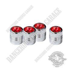 4 Chrome Billet Aluminum Swarovski® Red Diamond Wheel Valve Stem Dust Caps