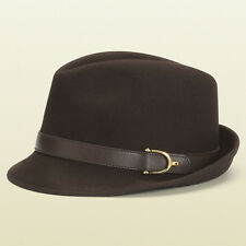 GUCCI Fedora Hat Dark Brown Cappello Buckle Leather Spur Details Small MSRP $450