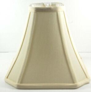 SQUARE SILK CUT-CORNER LAMP SHADE - EGGSHELL - EXCELLENT CONDITION