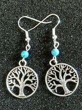 TREE OF LIFE / SACRED OAK CHARM  Turquoise Beads Tibetan Silver Earrings, Karma