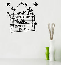 Welcome Sweet Home Birds Quote Wall vinyl Stickers Art Room Removable Decals DIY