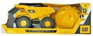 CAT Construction Fleet Dump Truck Sand Box Set Caterpillar Tools Shovel Hard Hat