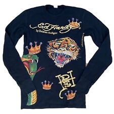 Mens Ed Hardy Tiger Nurse Graphic L/S Long Sleeve Thermal  T Shirt S