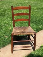 Vtg Antique Chair Hand Turned Carved Lrg Child Junior Twine Woven Seat