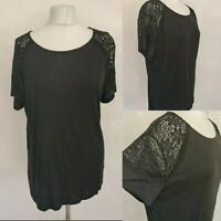H&M Women's Black Top Tshirt Short Lacy Sleeve Casual Work Formal Size L 14