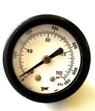 "MarshallTown Pressure Gauge Panel Mount 0-160 PSI 1 3/4"" Diameter Face"