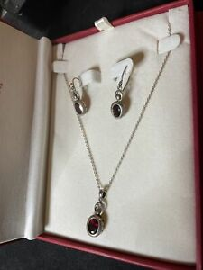 Coldwater Creek Vintage Sterling and dark red stone Earrings and Necklace set