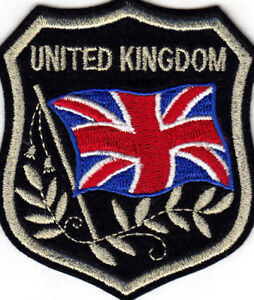 UNITED KINGDOM FLAG ON SHIELD Iron On Patch Countries