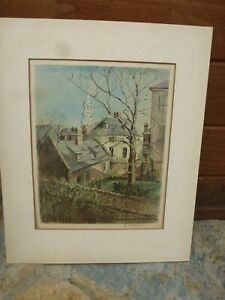 Pencil Signed Roof Tops ELIZABETH O'NEILL VERNER Lithograph PRINT Charlestown SC