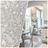 SWATCH- 100% Silk Embroidered Taffeta Fabric - Floral Gray Pink Floral