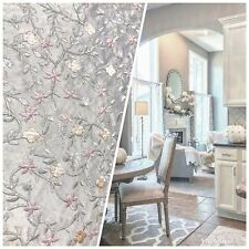 NEW 100% Silk Embroidered Taffeta Fabric - Floral Taupe Gray and Pink Floral