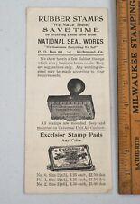 Vintage National Seal Works Rubber Stamp Catalog Brochure Richmond Virgina