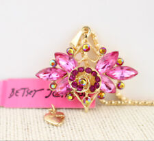 Betsey Johnson Hot Pink Crystal Flower Gold Pendant Chain Necklace Free Gift Bag