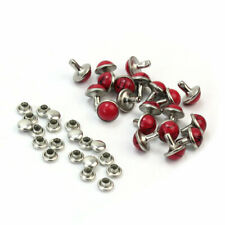 20x Red Resin Stud Metal Rivets Punk For Shoes Bags Decor DIY Craft Supplies cvf