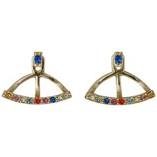 Pilgrim Jewellery Gold Plated Multicolour crystals ear jacket earrings, gift bag