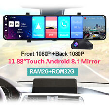 "12""Android 8.1 4G WIFI GPS Rear View Mirror Dash Video Recorder Car DVR Dual"