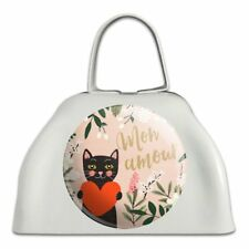 Mon Amour My Love French Cat Heart White Metal Cowbell Cow Bell Instrument