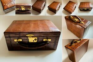 Vintage Crocodile Skin Jewellery Case by Alexander Ogilvie & Co of Glasgow
