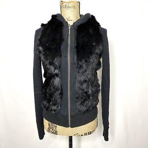 Juicy Couture Rabbit Fur Hoodie XS S Black Reversible Zip Up Sweatshirt