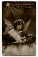 c 1916 Children Child CUTE ANGEL w/ VIOLIN British Christmas photo postcard
