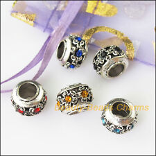 5 Mixed Crystal Round Flower 5.5mm Hole Beads fit European Charms Bracelets 12mm