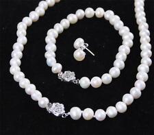 7-8mm White Freshwater Cultured Pearl Bracelet Necklace Earrings
