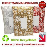 Printed Christmas Xmas Snowflake Mail Mailing Bags Poly Postal Strong Self Seal