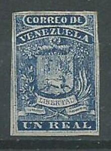 Venezuela 1859 1r blue SG2 MINT with gum light hinge 4 margins. Superb. (2014)