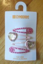 Girl GYMBOREE PINK RHINESTONE HEARTS hair clips barrettes NWT 2T 3T 4T 5T 5 6