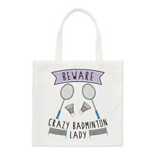 Beware Crazy Badminton Lady Regular Tote Bag Funny Sport