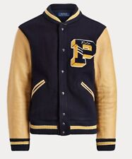 "NWT $798 POLO RALPH LAUREN Mens Navy Wool Leather Sleeves Letterman Jacket ""P"" M"