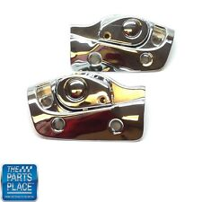 1965-70 GM B-Body Convertible Sunvisor Brackets & Latch Receptacles -Chrome Pair