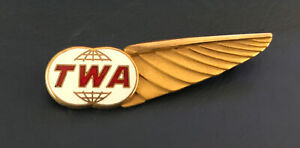 1960's GF TWA Flight Attendant Stewardess WINGS Hat Badge Trans World Airlines