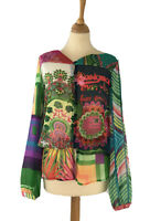 Desigual Womens Size M Blouse Bright Psychedelic Chiffon Sheer Top
