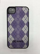 Authentic Speck Fitted Hard Case with Fabric for Apple iPhone 4/4S Purple Argyle