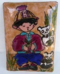 Schönes Emaille Porträt Kind Asiatisch Panda Unterzeichnet Marie Gerahmt Gemälde