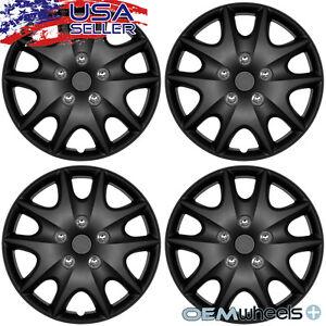 "4 New Black 15"" Hub Caps Fits Hyundai SUV Car Steel Wheel Covers Set Hubcaps"