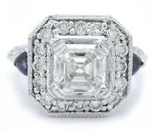 1.95CT ASSCHER CUT DIAMOND & SAPPHIRE ENGAGEMENT RING