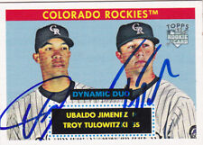 UBALDO JIMENEZ TROY TULOWITZKI COLORADO ROCKIES SIGNED 2007 TOPPS 52 ROOKIE CARD