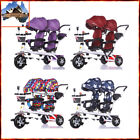Children's Tandem Tricycle Double Seats Baby Bicycle Ride On Trike KTR2082