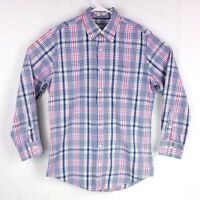 Peter Millar Mens sz M Blue Pink Grey Plaid Long Sleeve Button Down Dress Shirt