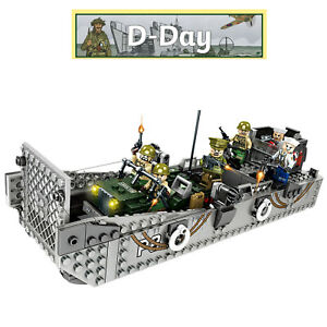 WW2 Military Landing Craft Boat + Army Jeep Truck US Soldiers Normandy fit lego