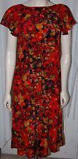 Vintage Orange Brown Gold Black Flower Dress 70s Gown Sleeveless Ruffle L Floral