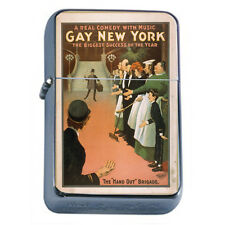 Silver Flip Top Oil Lighter Vintage Poster D 110 Comedy Gay New York Musical