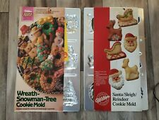 2 Vtg Wilton Christmas Cookie Mold tree wreath reindeer sleigh Snowman 1985
