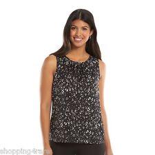 0facfee960be79 Women's Apt. 9 Black & White Charmeuse Shell Tank Sleeveless Blouse Top  Medium